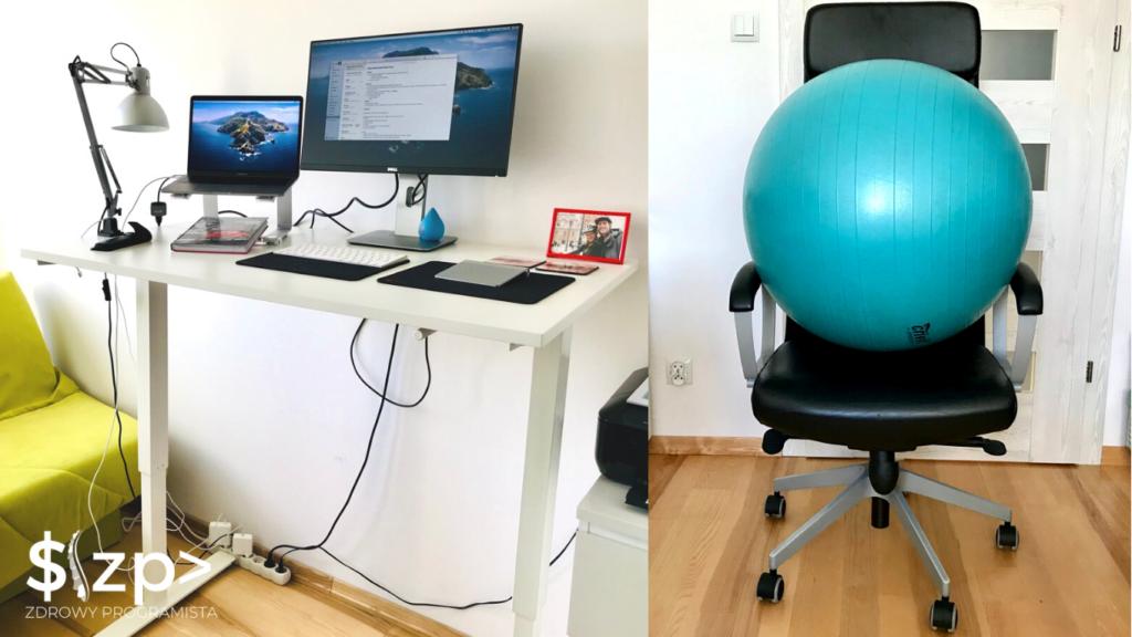 Stanowisko nr 1: biurko, sprzęty elektroniczne, sprzęty do siedzenia
