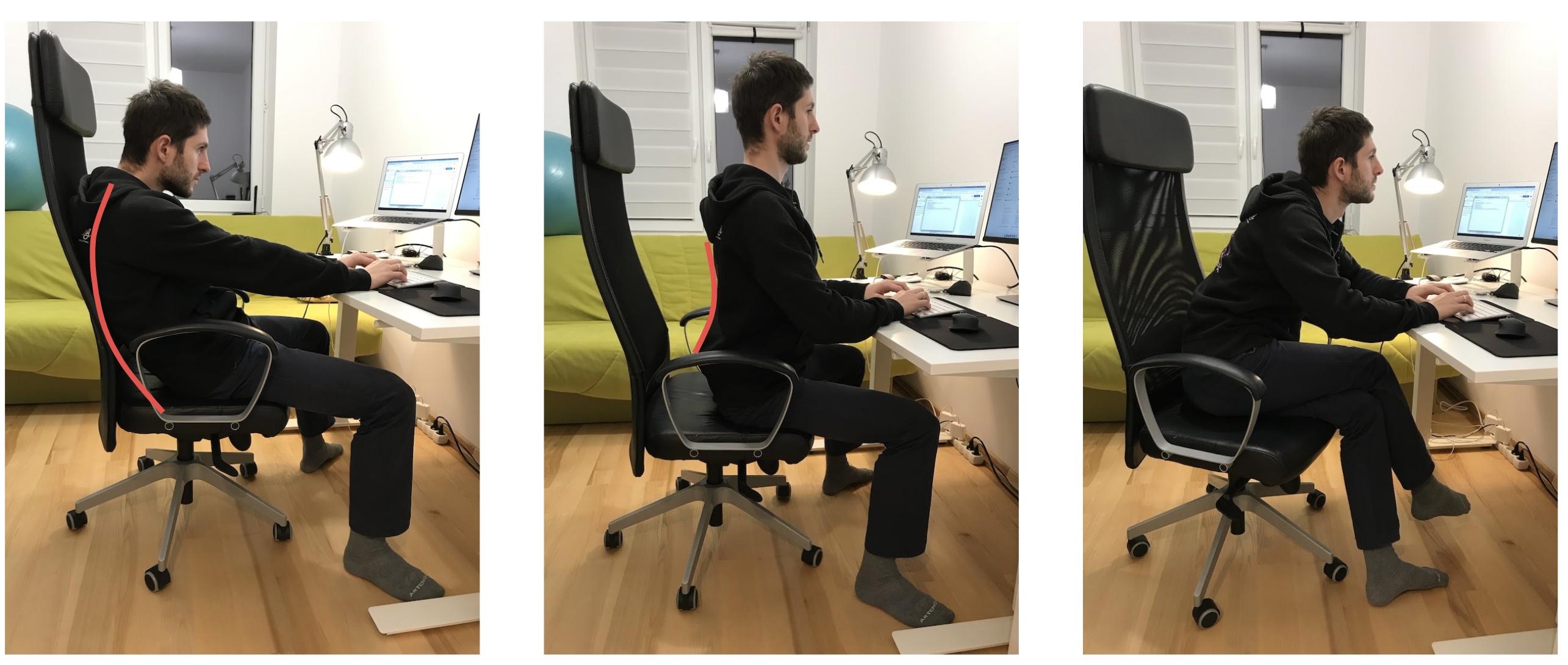 Niewłaściwe pozycje ciała w siedzeniu.